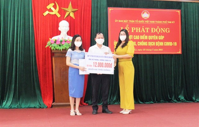 Công ty CP sách và thiết bị trường học Quảng Nam ủng hộ tiền phòng, chống dịch.