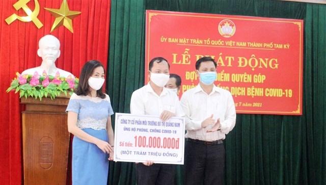 Công ty CP môi trường Đô thị Quảng Nam ủng hộ quỹ phòng, chống dịch Covid-19.
