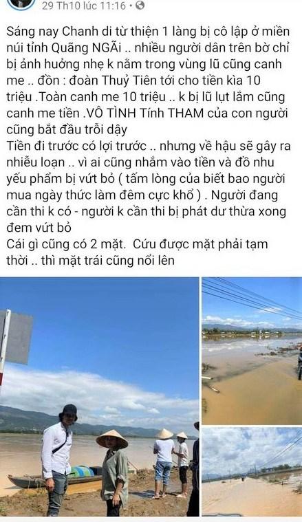 Nội dụng ca sĩ Phương Thanh đăng lên mạng xã hội.