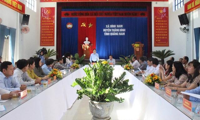Quang cảnh buổi làm việc của Chủ tịch Trần Thanh Mẫn với lãnh đạo Quảng Nam.