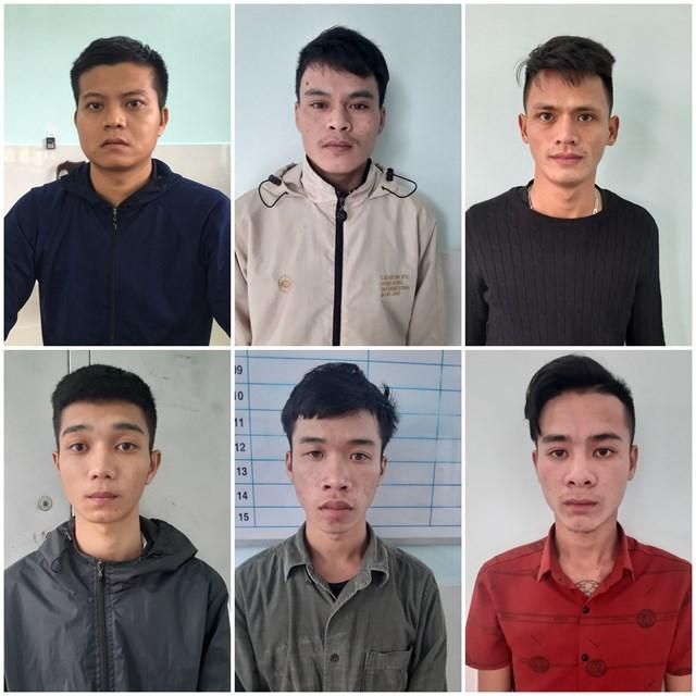 6 trong 7 đối tượng bị bắt giữ. (Ảnh CA cung cấp)