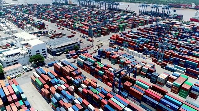 Số lượng container tồn ở cảng Cát Lái tăng cao.