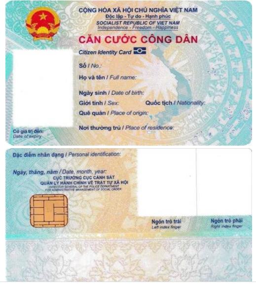 Mặt trước và mặt sau thẻ Căn cước công dân gắn chip điện tử. Ảnh: Bộ Công an