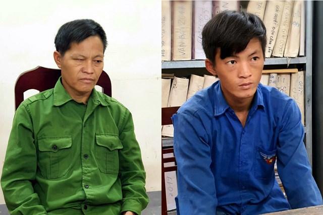 Hai đối tượng Giàng Chẩn Diu và Giàng Seo Sèng tại cơ quan chức năng. Ảnh: Công an tỉnh Hà Giang.
