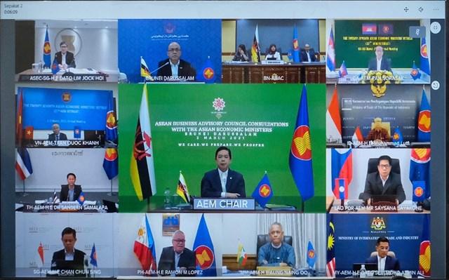 Các Bộ trrưởng tham dự Hội nghị trực tuyến ASEAN hẹp lần thứ 27.