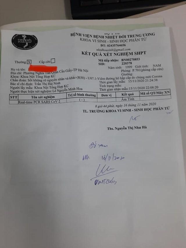 Kết quả xét nghiệm Covid-19 của bệnh nhân tại Bệnh viện Bệnh Nhiệt đới Trung ương.