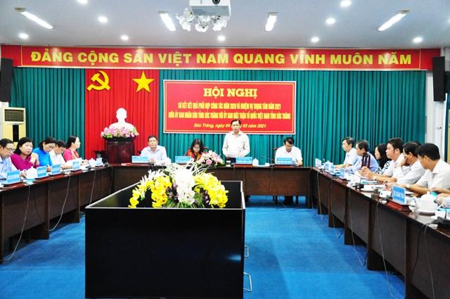 Quang cảnh hội nghịsơ kết công tác phối hợp giữa UBND tỉnh và Ủy ban MTTQ Việt Nam tỉnh Sóc Trăng.