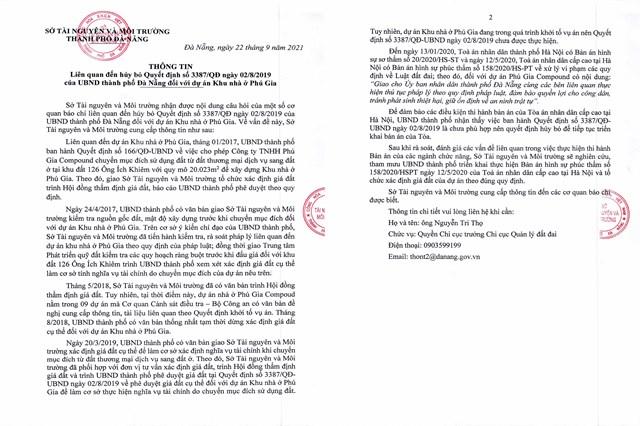 Văn bản ngày 22/9 của Sở TN&MT Đà Nẵng gửi các cơ quan báo chí trên địa bàn.
