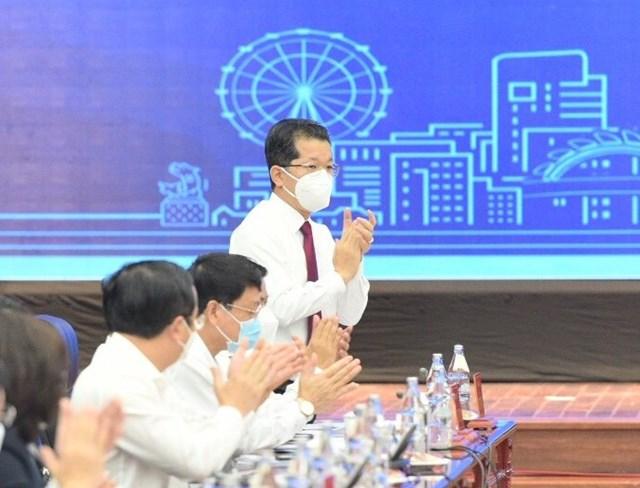 Bí thư Thành ủy Đà Nẵng Nguyễn Văn Quảng: khẳng định, Thủ tướng không kiểm điểm Đà Nẵng trong phòng, chống dịch! (Ảnh BTC Hội nghị Đối thoại doanh nghiệp Đà Nẵng cung cấp).