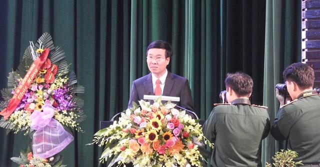 Ủy viên Bộ Chính trị, Bí thư Trung ương Đảng, Trưởng ban Tuyên giáo Trung ương Võ Văn Thưởng phát biểu tại Hội thảo. Ảnh: Thanh Tùng.