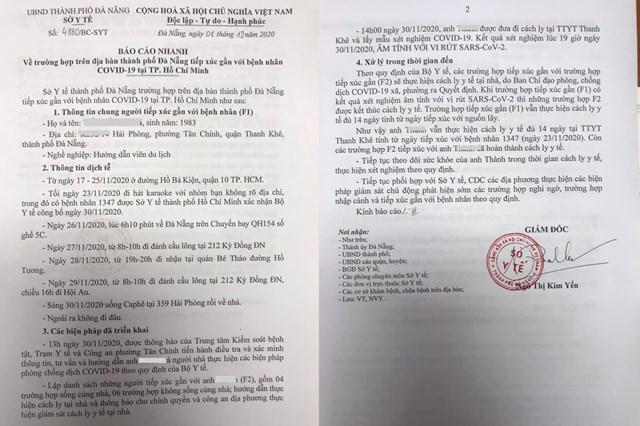 Báo cáo của Sở Y tế TP Đà Nẵng về trường hợp F1 (tiếp xúc với ca bệnh 1.347 tại TP Hồ Chí Minh) chiều 1/12.