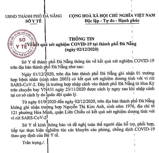 Thông tin của Sở Y tế TP Đà Nẵng đêm 2/12.