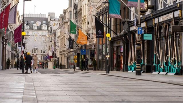 Đường phố London vắng tanh trong đợt phong tỏa lần thứ 3. Ảnh: BBC.