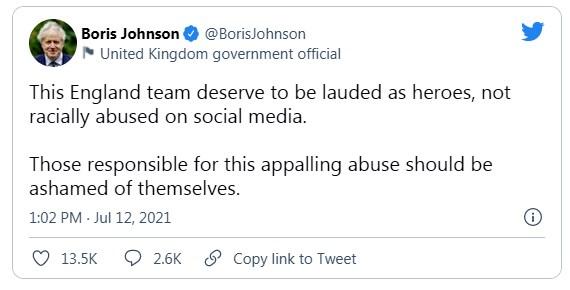 Bình luận trên Twitter của Thủ tướng Anh Boris Johnson.