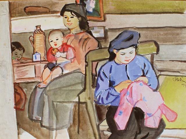 Khâu áo cho con (ký họa màu, 1955).