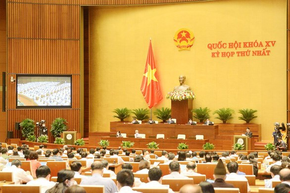 Toàn cảnh một phiên họp tại hội trường của kỳ họp thứ nhất Quốc hội khóa XV. Ảnh: Quang Vinh.