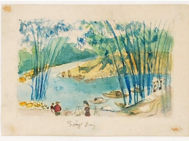 """Bức tranh """"Sông Đáy"""" của Quang Dũng."""