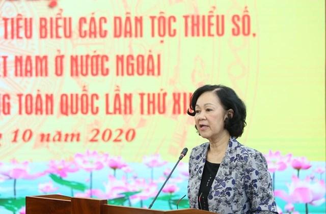Trưởng ban Dân vận Trung ương Trương Thị Mai phát biểu tại Hội nghị.
