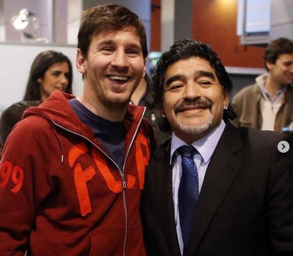Messi thể hiện sự tôn vinh Maradona trênInstagram.