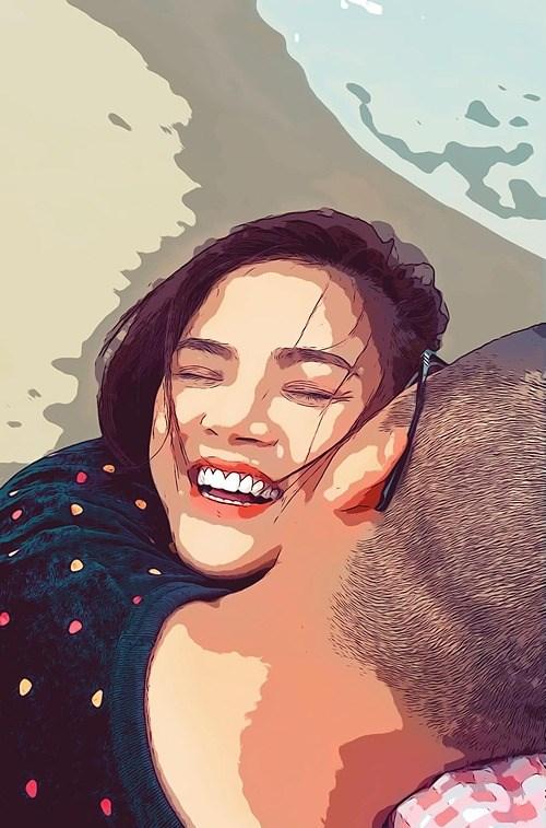 """Diễn viên Thu Quỳnh chia sẻ khoảnh khắc hạnh phúc bên bạn trai cùng chú thích: """"Ngày em đánh rơi nụ cười vào anh""""."""