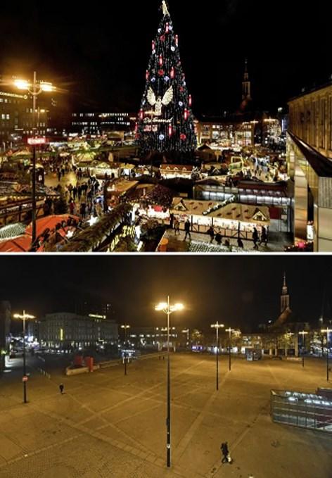 Chợ Giáng sinh truyền thống ở Dortmund, Đức trước và sau đại dịch Covid-19.