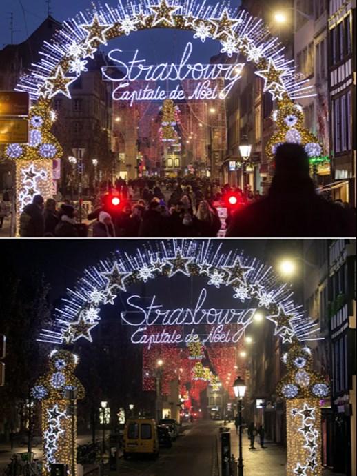 Chợ Giáng sinh truyền thống ở Strasbourg, Pháptrước và sau đại dịch Covid-19.
