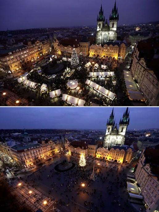 Chợ Giáng sinh truyền thống tại Quảng trường Phố Cổ ở Prague, Cộng hòa Séctrước và sau đại dịch Covid-19.