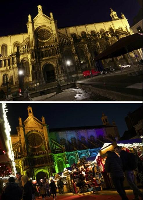 Chợ Giáng sinh truyền thống bên cạnh Nhà thờ Saint Catherine ở Brussels, Bỉsau và trước đại dịch Covid-19.