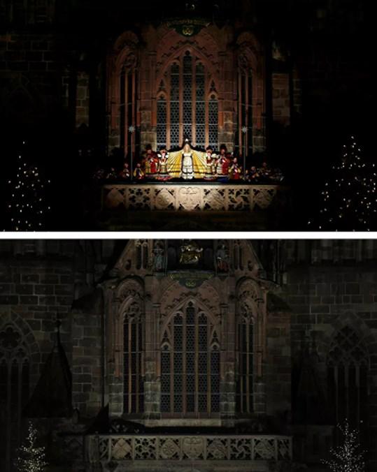 Bên ngoài Nhà thờ Đức mẹ ở Nuremberg, Đứctrước và sau đại dịch Covid-19.