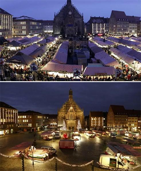 Quảng trường phía trước Nhà thờ Đức Mẹ với Chợ Giáng sinh truyền thống ở Nuremberg, Đứctrước và sau đại dịch Covid-19.