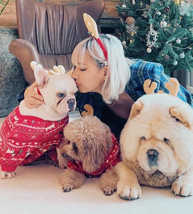 Châu Bùi đáng yêu bên 3 chú cún cưng.