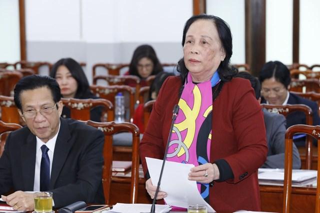 Bà Phạm Thị Hải Chuyền, Chủ tịch Hội Người cao tuổi Việt Nam phát biểu tại Hội nghị. Ảnh: Quang Vinh.