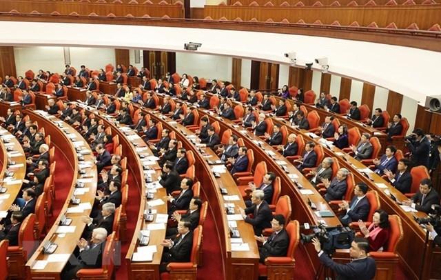 Các đồng chí lãnh đạo Đảng, Nhà nước và các đại biểu dự Hội nghị. Ảnh: Trí Dũng/TTXVN.
