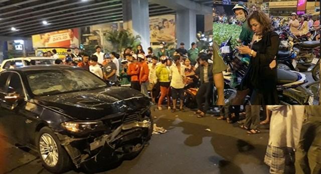Một vụ tai nạn do nữ tài xế lái xe BMW gây ra tại TP HCM.