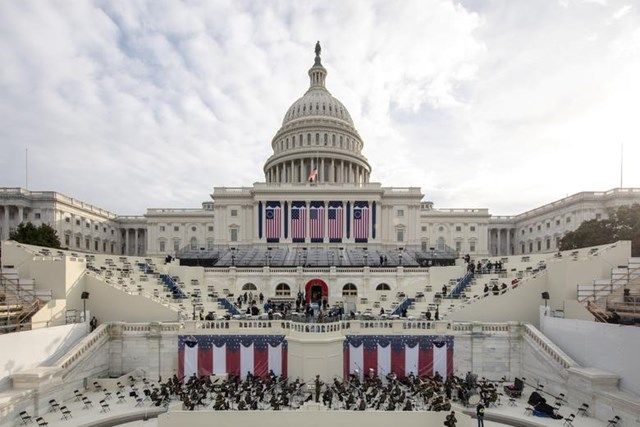 Quang cảnh Điện Capitol, nơi sẽ diễn ra lễ nhậm chức của Tổng thống đắc cử Joe Biden và Phó Tổng thống đắc cử Kamala Harris.