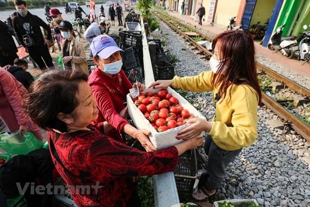 Biết tin tại địa điểm 38 Giải Phóng đang bán nông sản 'giải cứu' cho bà con nông dân Hải Dương, rất nhiều người dân đã tìm đến đây để ủng hộ. (Ảnh: Minh Sơn/Vietnam+).