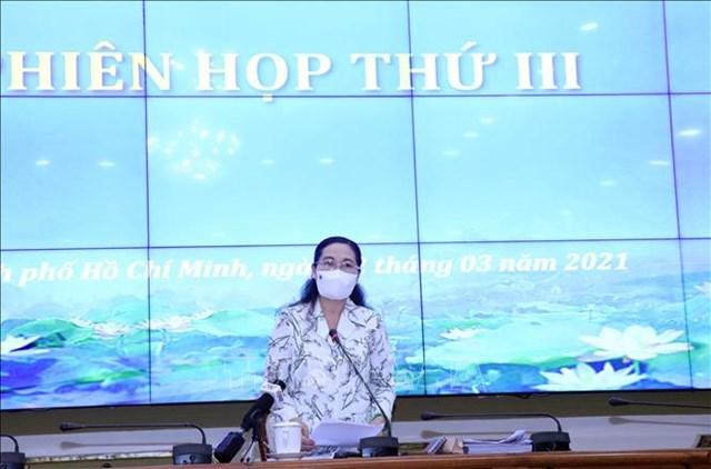 Bà Nguyễn Thị Lệ - Chủ tịch HĐND, Chủ tịch Ủy ban bầu cử TP HCM chủ trì Phiên họp thứ 3.