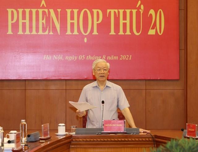 Tổng Bí thư Nguyễn Phú Trọng phát biểu kết luận Phiên họp thứ 20. Ảnh: TTXVN.