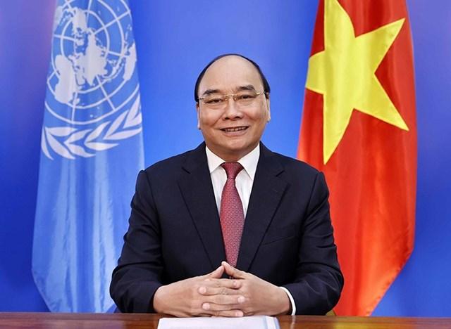 Chủ tịch nước Nguyễn Xuân Phúc gửi thông điệp tại Hội nghị Thượng đỉnh Liên hợp quốc về Hệ thống lương thực. Ảnh: TTXVN.