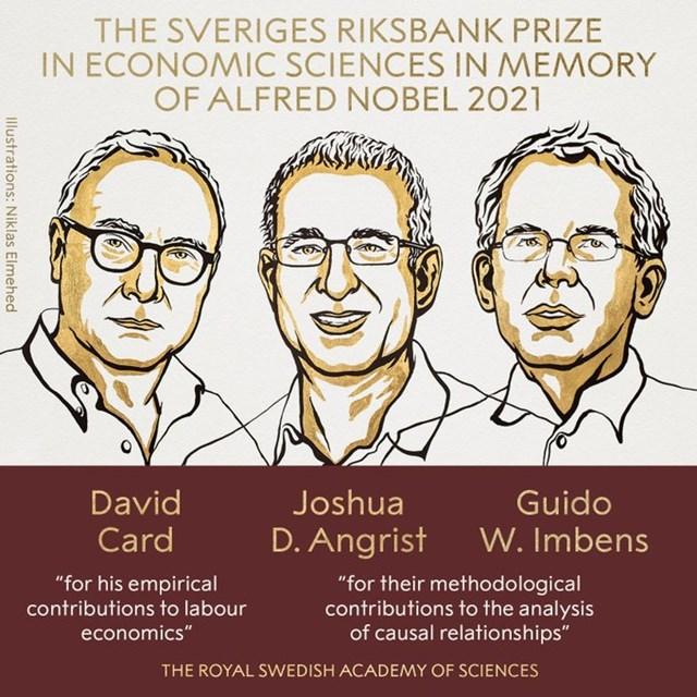 Giải Nobel Kinh tế 2021 được trao cho ba nhà kinh tế người Mỹ David Card, Joshua Angrist và Guido Imbens. Ảnh: Nobel Prize.