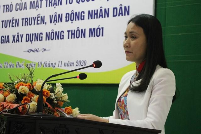 Phó Chủ tịch Mặt trận tỉnh Phan Thị Ái Nhi tổng kết vai trò Mặt trận tham gia xây dựng Nông thôn mới.