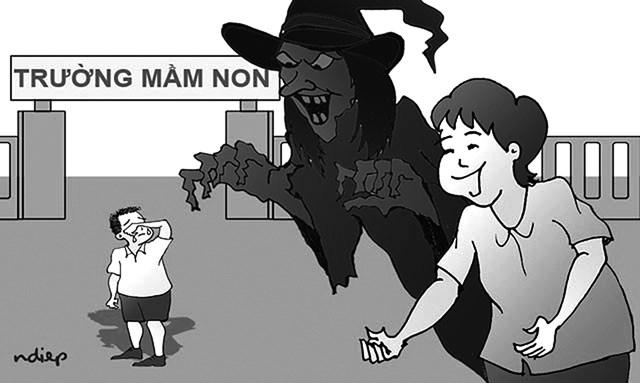 Một biếm họa cho thấy ác mộng của trẻ thơ.