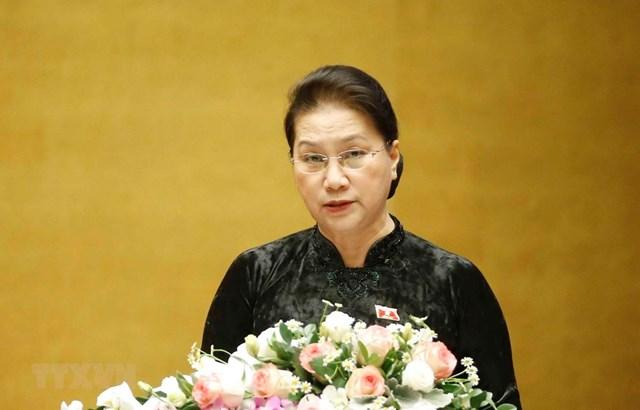 Chủ tịch Quốc hội Nguyễn Thị Kim Ngân phát biểu bế mạc Kỳ họp. (Ảnh: Phương Hoa/TTXVN).