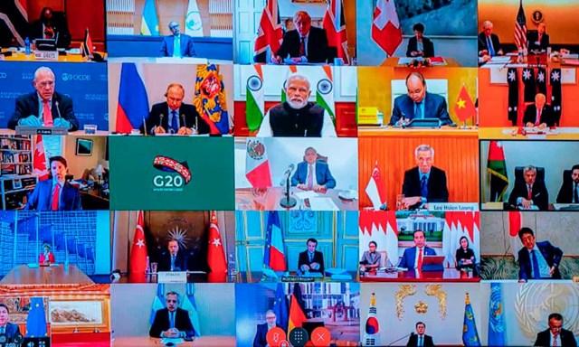 Hội nghị thượng đỉnh trực tuyến G20 lần đầu tiên trong lịch sử. Ảnh: AFP/Getty Images.