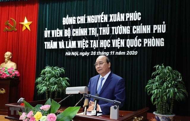 Thủ tướng Nguyễn Xuân Phúc phát biểu tại buổi làm việc. Ảnh: TTXVN.