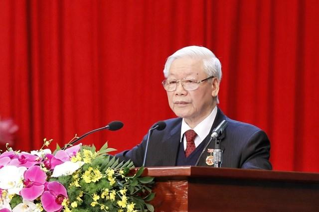 Tổng Bí thư, Chủ tịch nước Nguyễn Phú Trọng phát biểu tại Đại hội Thi đua yêu nước. Ảnh: Quang Vinh.