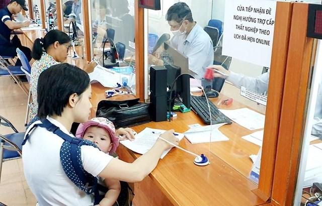 Lao động làm thủ tục hưởng bảo hiểm thất nghiệp. (Ảnh: PV/Vietnam+).