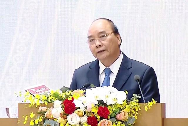 Thủ tướng Nguyễn Xuân Phúc phát biểu kết luận Hội nghị. Ảnh: Quang Vinh.