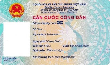 Mặt trước của thẻ CCCD có gắn chip mới