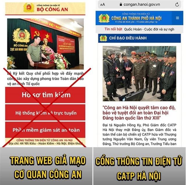 Trang web giả mạo và trang web chính thức của Công an TP Hà Nội.